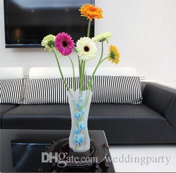 400pcs 12 * 27 cm Creativo Chiaro Pieghevole Eco-Friendly Pieghevole Fiore PVC Vaso Infrangibile Riutilizzabile Home Decorazione della Festa Nuziale