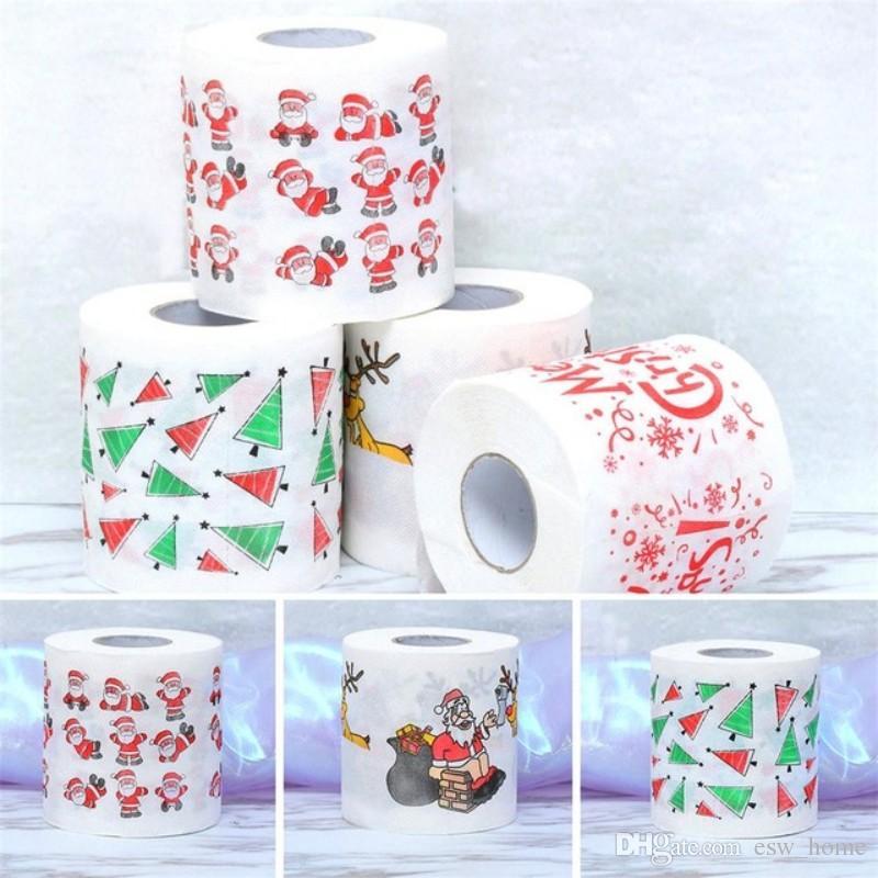 Рождественский шаблон серии Roll Paper Print Интересные туалетной бумаги Фестиваль Настольные принадлежности Кухня Бумажное полотенце Xmas Украшение