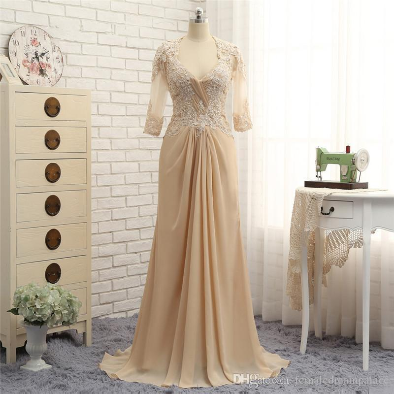 2018 elegant champagne chiffon a line mother of the bride dresses custom half sleeves lace mother's dress v neck wedding guest dress