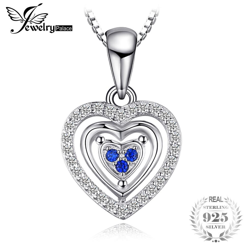 JewelryPalace Cuore Love Heart creato Sapphire Pendant Necklace For Woman 100% 925 Sterling Silver Gift 45cm Box Chain