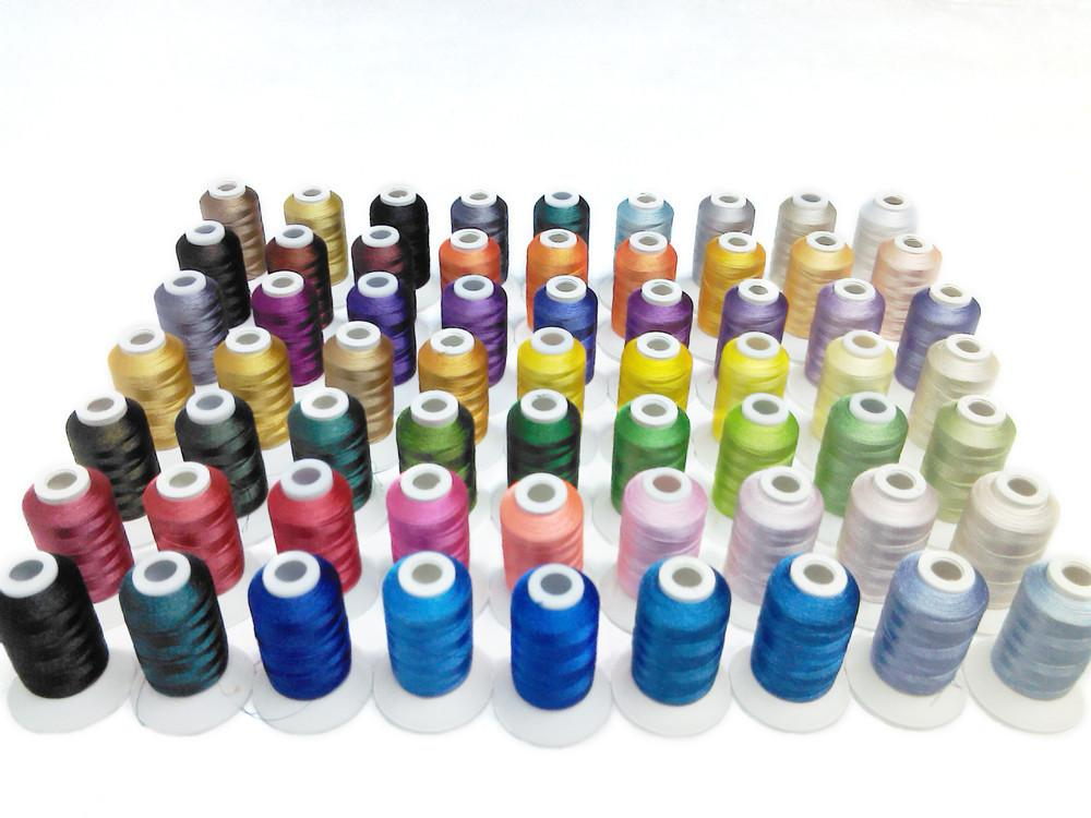 Popular Brother 63 assorted color embroidery machine thread 500m/color for any embroidery machine 3D stand threads