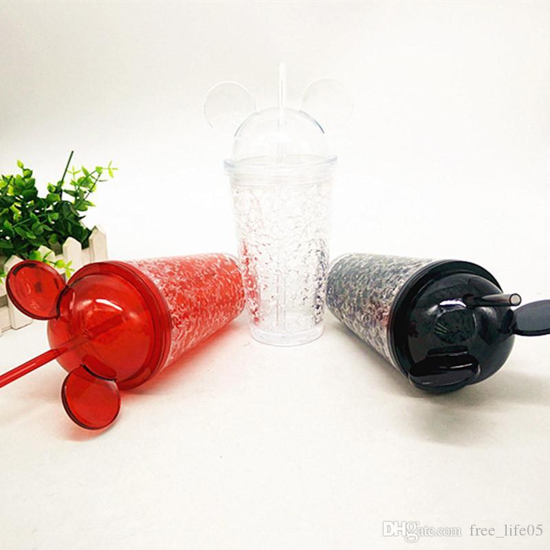 Botella de agua de hielo creativa de verano 450 ml de doble capa de plástico fresco bebida paja de hielo del estudiante
