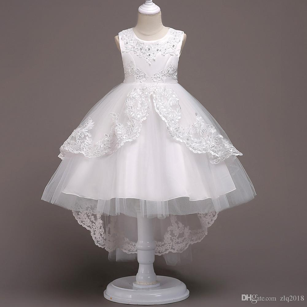 2018 Princess Little Flower Girl Wedding Dresses With Jewel Lace Beaded Bow  Kids First Communion Gowns Flower Girls Dresses Ivory Toddler Girl Flower