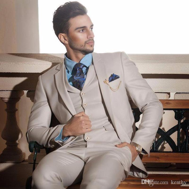 Latest Design Ivory Cream Groom Tuxedo Italian Mens Wedding Suit Costume Homme Prom Party 3Piece Slim Fit Best Man Blazer Jacket+Pants+Vest