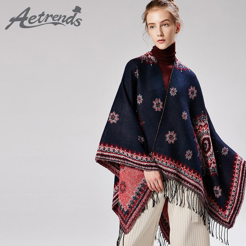 venta minorista 3cce0 fc716 2019 AETRENDS Woman Pashminas 2018 Sun Floral Shawl With Tassels Ponchos  And Capes Long Coat With Print Scarves For Women Z 6554 From Art07, &Price;  | ...