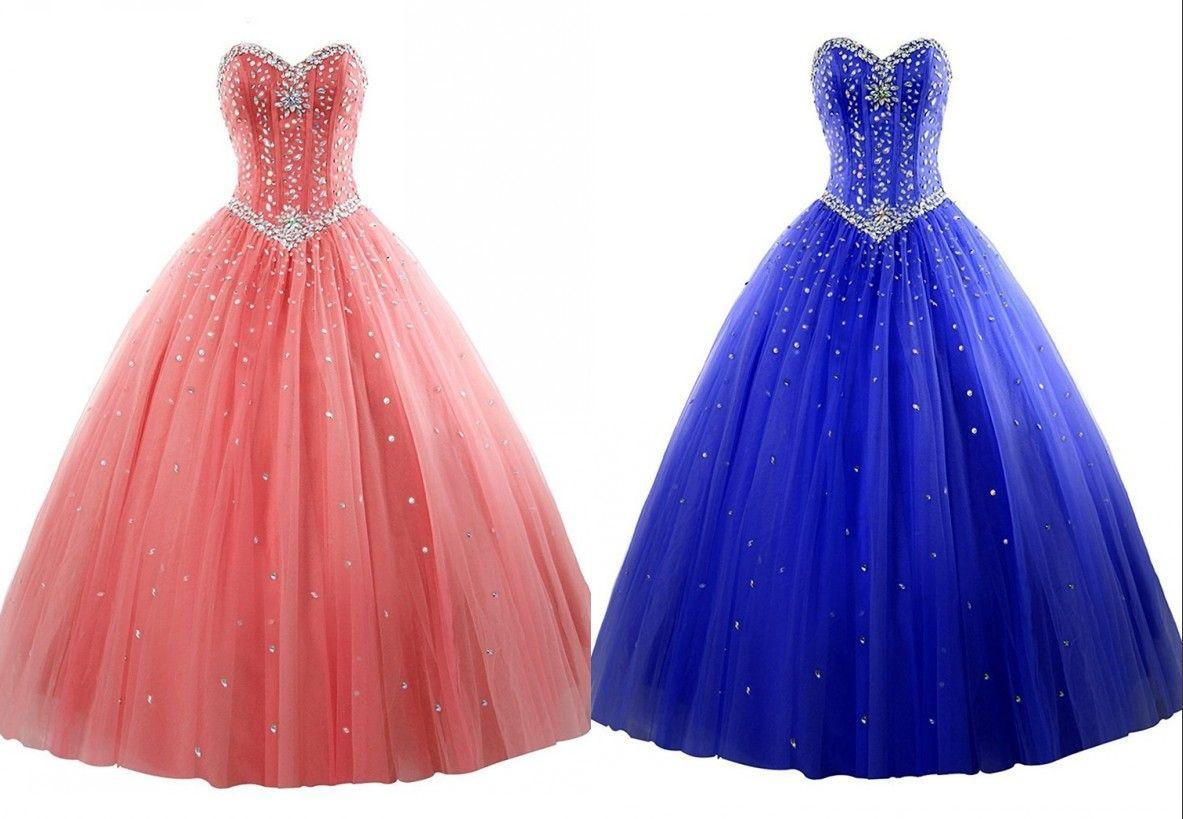 Mercan Kraliyet Mavi Ucuz Quinceanera Balo Elbise Balo Sevgiliye Tül Korse Uzun Bling Kristal Sequins Akşam Örgün Tatlı 16 Elbiseler
