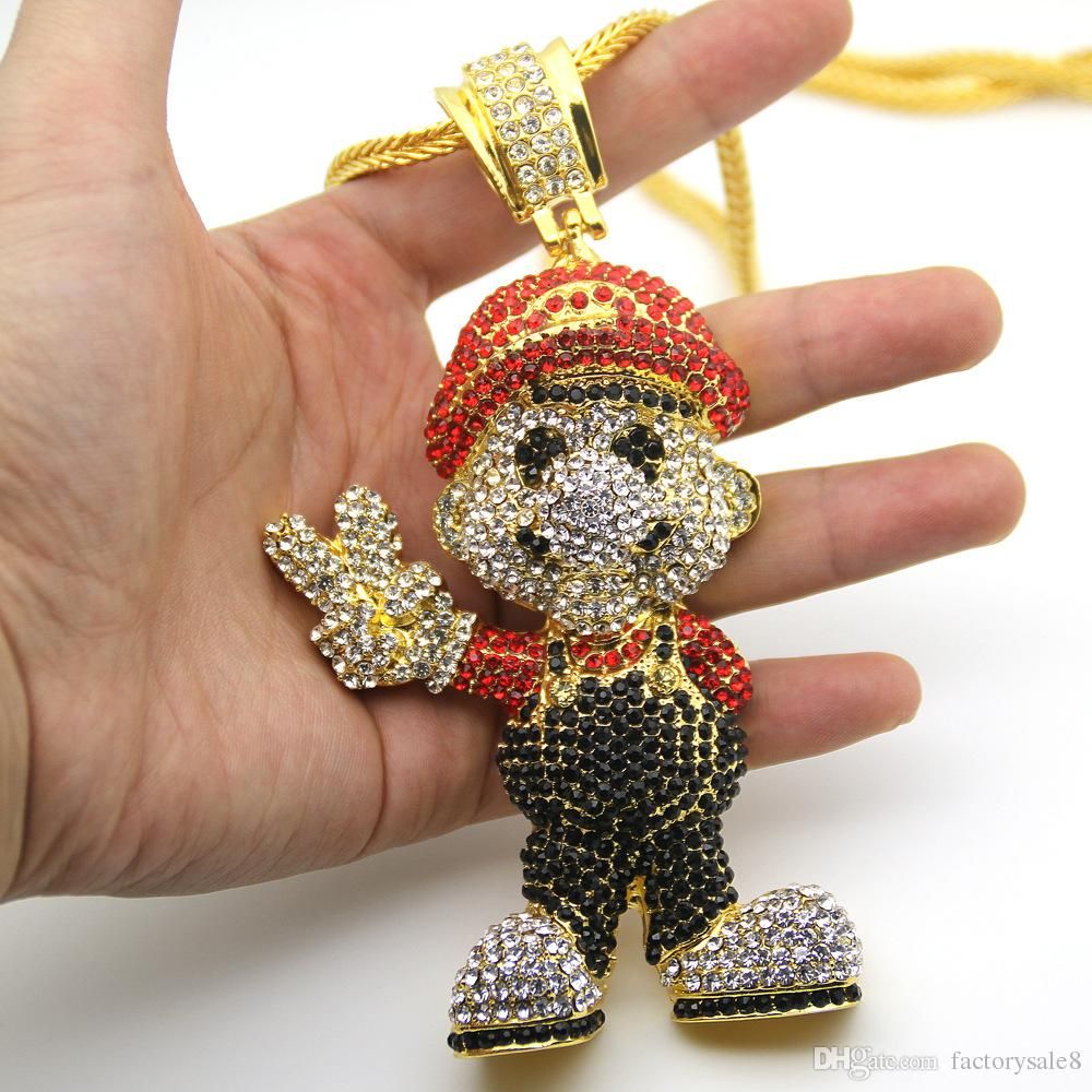 2018 Very Lage Size 36inch Franco Chain Cartoon Game pendant Hip hop Necklace Jewelry Bling Bling Iced Out, Free shipping