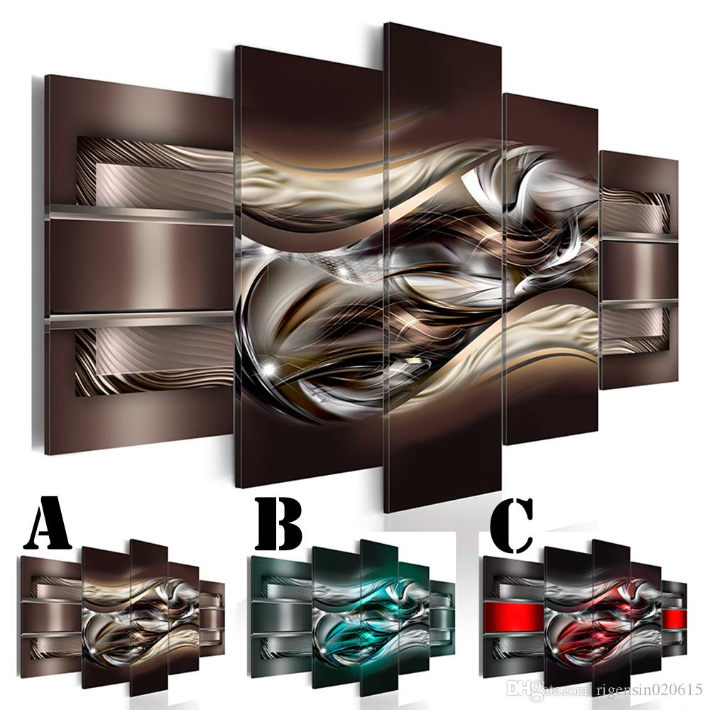 No Frame Wall Picture Printed Canvas Painting Spray Painting Multi-picture Combination Rolling Abstract Lines Home Decor Extra Mirror Border