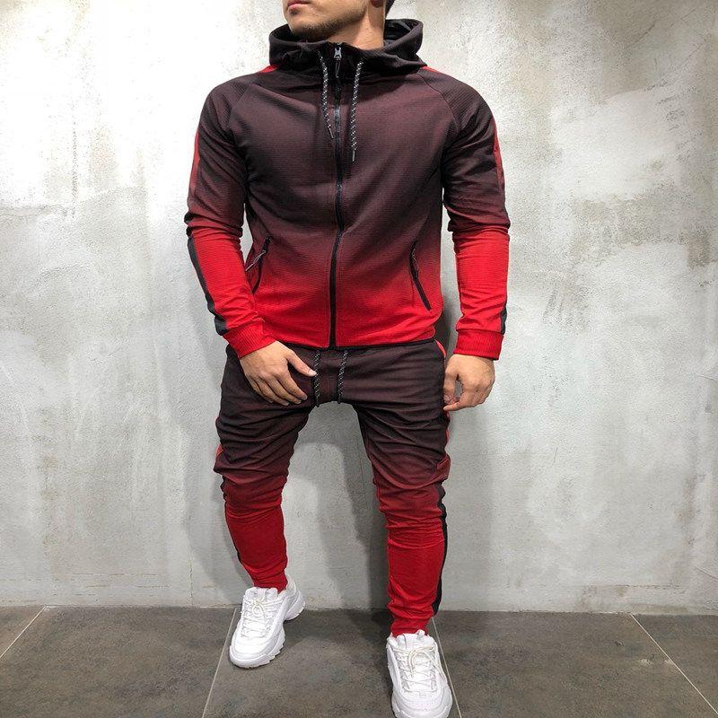 Chándal de hombre casual de manga larga gradiente de la manga larga con capucha tops de jogging inferior Sweat Sweat 2pcs Pantalones con capucha Capa de capucha Pantalón