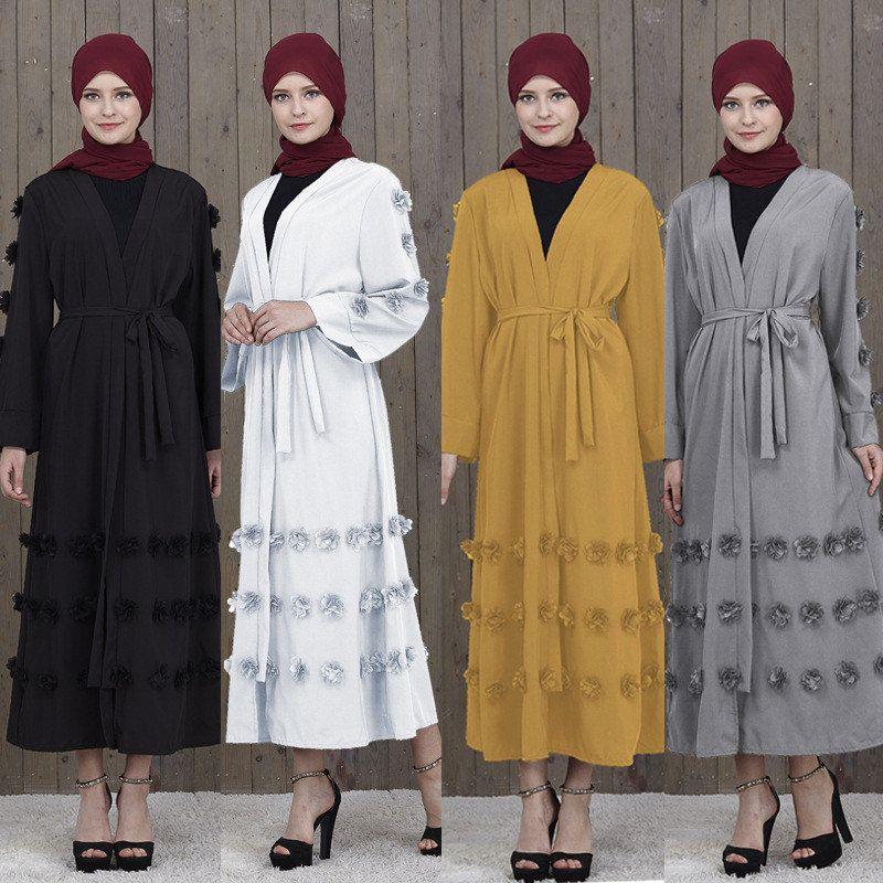 Élégant Musulman Abaya Floral Maxi Dress Cardigan FLowers Jupe Appliques Longues Robes Tunique Moyen-Orient Ramadan Vêtements Islamiques