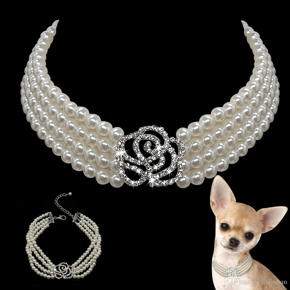 Bling Rhinestone Diamante Köpek Pet Aksesuar Malzemeleri ile 10pcs İnci Köpek Kolye Yaka Moda Jewelled Yavru Kedi Yaka