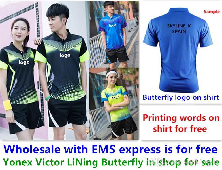 الجملة EMS مجانا ، طباعة النص مجانا ، جديد قميص تنس الريشة الملابس تنس الطاولة تي شيرت الملابس الرياضية A11