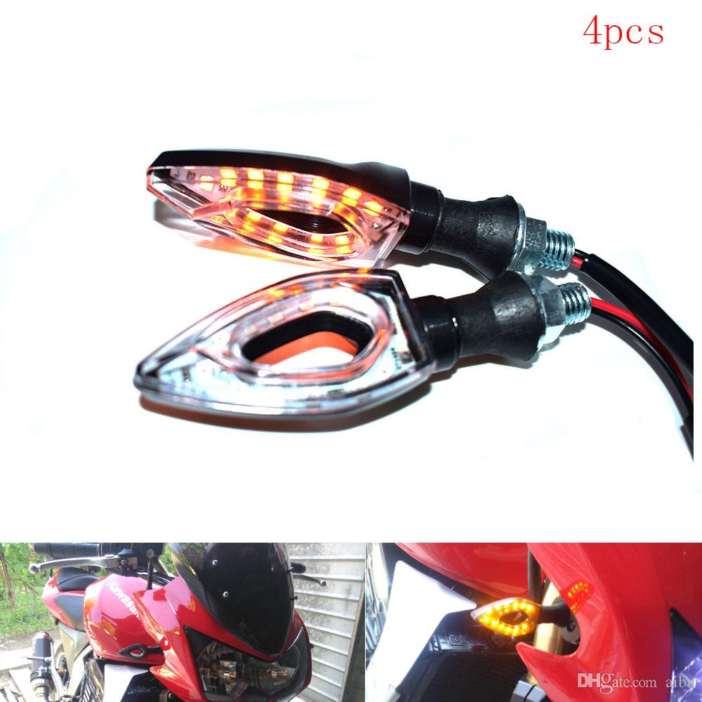 Pair Motorcycle LED Turn Signals Amber Light Indicators Blinkers Flashers Carbon