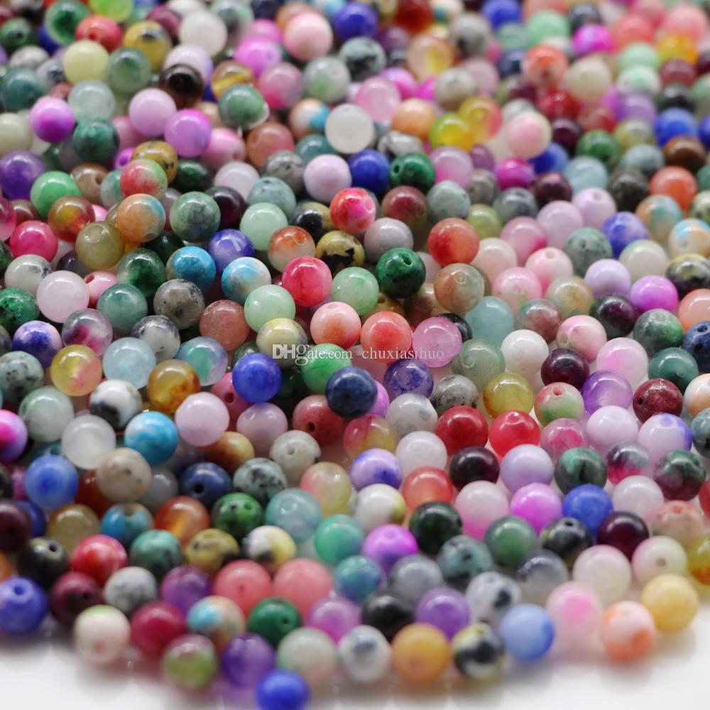 High Quality Assorted Color 50 Pieces Of Peck Semi Natural Gemstone 6 mm Bracelet Necklace Spacer Beads