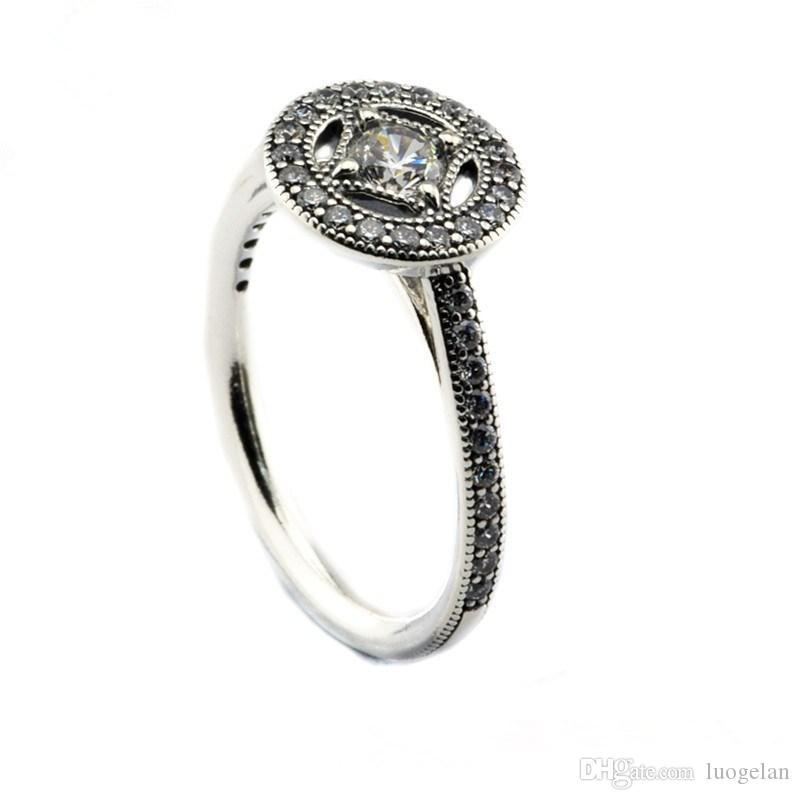 Compatibile con anello gioielli Pandora argento Vintage Allure Clear CZ anelli 100% 925 gioielli in argento sterling all'ingrosso fai da te per le donne