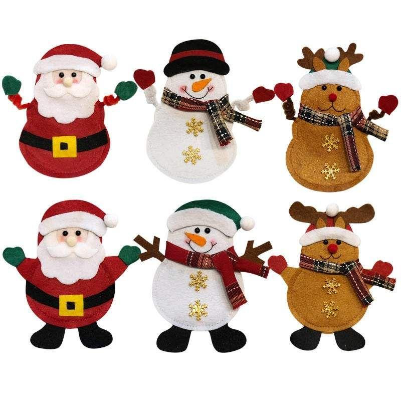 Décorations De Noël Creative Cartoon Hôtel Couvercle Couverture Case Santa Couverts Sac Table À Manger Couteau Set pour Le Festival