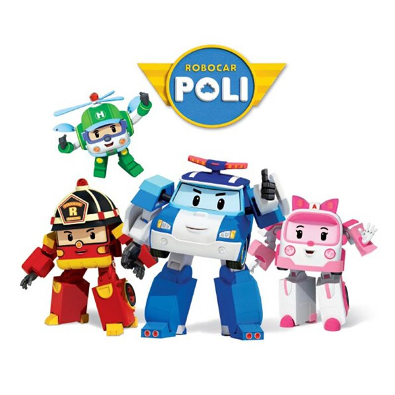 4pcs Robocar Poli Korea Kids Robot Transformation Anime Action Figure Toys UK