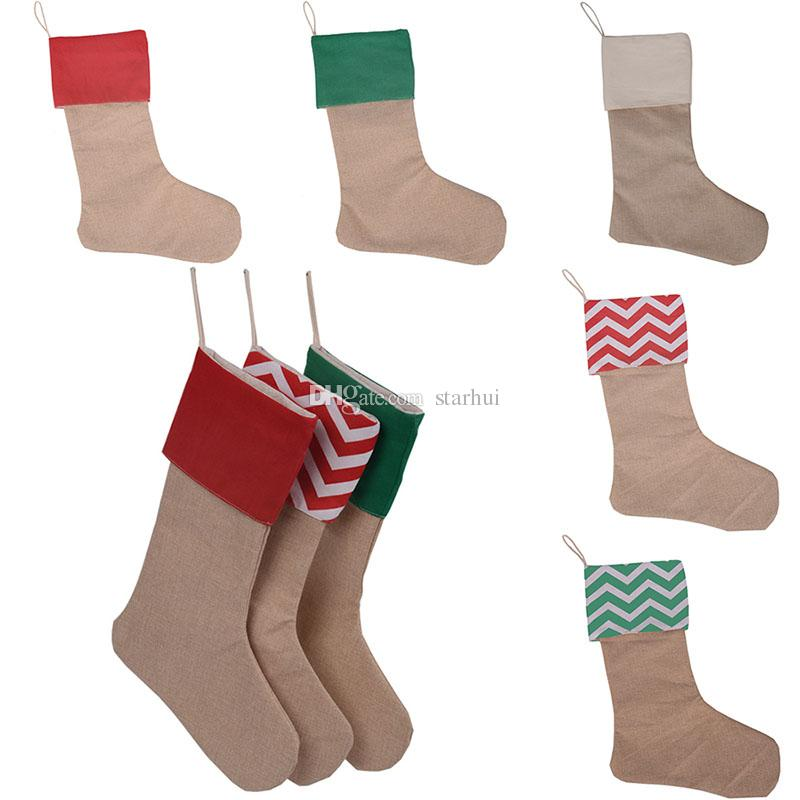 30 * 45CM قماش عيد الميلاد جوارب هدية حقيبة شجرة عيد الميلاد الديكور جوارب عالية الجودة التعبئة والتغليف كيس 7 اللون WX9-132