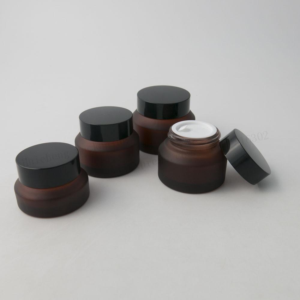 20 x 15G 30G 50G Frost Bernstein Make-up-Creme-Glas-Glas mit schwarzem Deckel weiß Seal Container Kosmetik Verpackung 1 Unze Glas Creme Pot