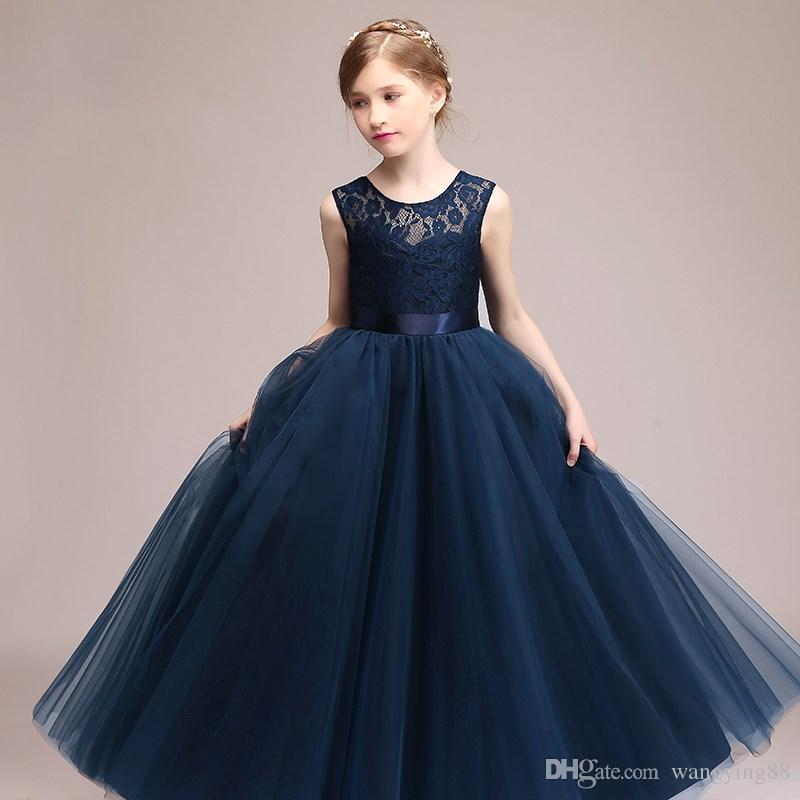 Navy Blue Cheap Flower Girl Dresses 2018 In Stock Princess A Line  Sleeveless Kids Toddler First Communion Dress With Sash Toddler Pageant  Dresses