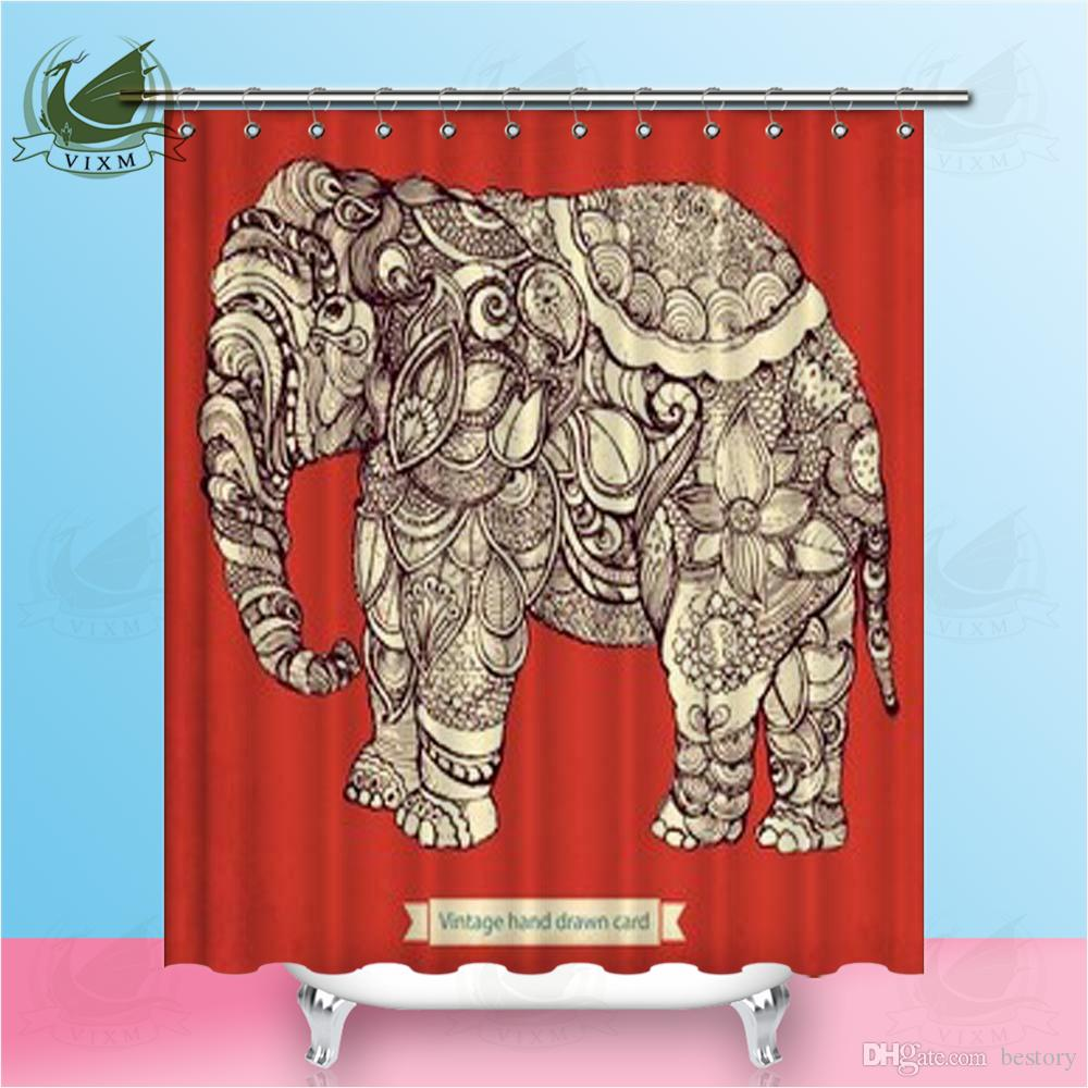 Vixm Hand Drawn Elephant With Elements Of Flower Ornament Shower Curtains Polyester Fabric Curtains For Home Decor
