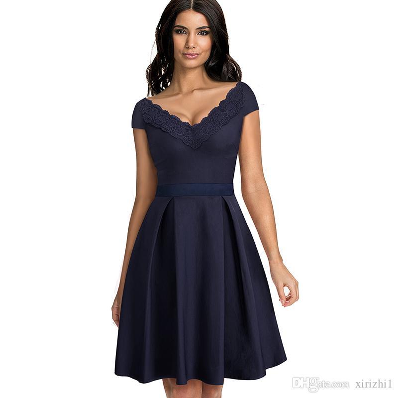 5160b6d34 Elegante Vestidos de Renda Vermelha de Manga Curta Grande Vestido Profundo  Decote Em V Magro Mulheres Sexy Formal Vestido de Festa Azul Escuro