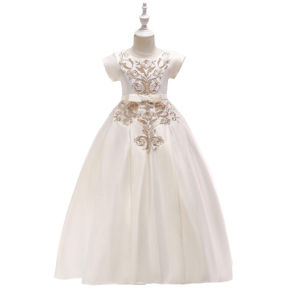 Горячие кружева Цветочницы Свадебного платье ребёнка Крещение торт платье для партии малышей 1 год Baby Girl День рождения платья