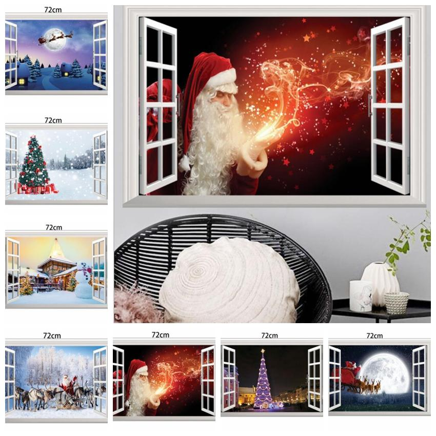 Christmas Wall Decals Removable.10 Design Christmas Wall Stickers Decoration 3d Christmas Window Wall Stickers Removable Pvc Wall Decal Christmas Home Decoration Kka6217 Baby Nursery