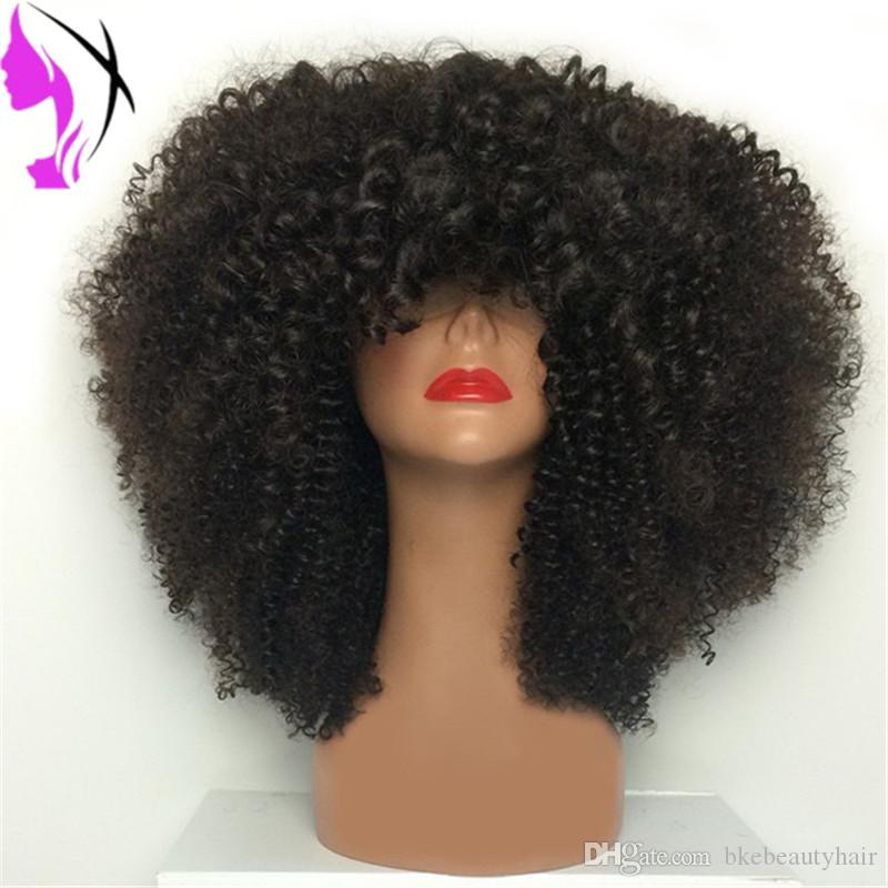 Full Bangs Small Curl Bouncy Curly Afro Wigs Lace Front Black African American Women Natural Heat resistant synthetic short Wig