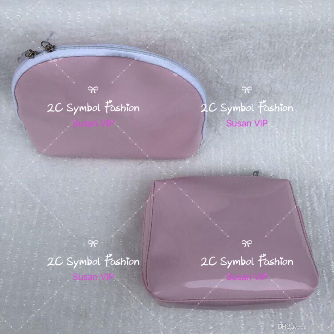 이 개 가방 패션 여성 광택 핑크 화장품 주최자 더블 지퍼 고전 메이크업 가방 명품 디자이너 핸드백 카운터 선물 크리스마스 선물 세트