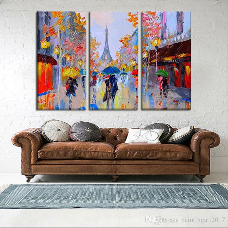 3 pçs / lote romântico paris pintados à mão pintura a óleo abstrata moderna na arte da parede da lona presente para sala de estar decoração