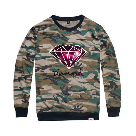 2018 nova chegada diamante hip hop moda camuflagem camisa homens e mulheres de manga longa t-shirt para o desgaste da dança de rua