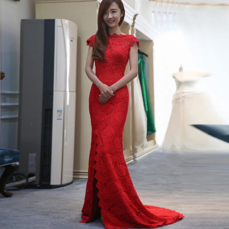 Elegant Sexy Split Evening Dress Bateau Mermaid Prom Dress Hollow Back Hand Made Lace Flower Party Dress Floor-Length D17