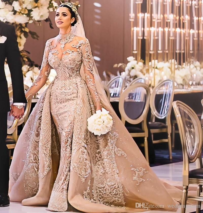 Abiti da sposa in pizzo a sirena di lusso con treno staccabile Sheer collo alto maniche lunghe abiti da sposa paillettes tromba in rilievo Vestido De Novia