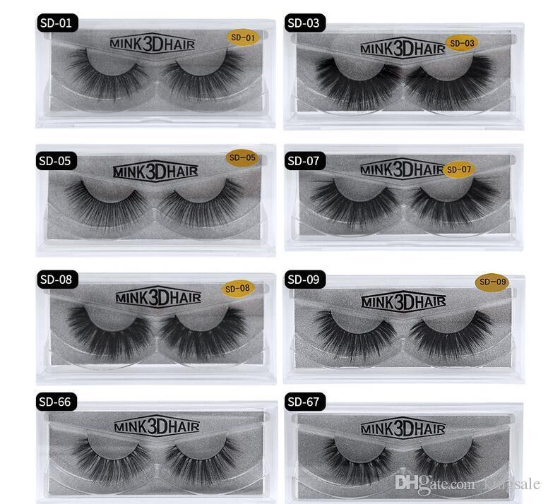 best price 11 styles Selling 1pair/lot 100% Real Siberian 3D Mink Full Strip False Eyelash Long Individual Eyelashes Mink Lashes Extension