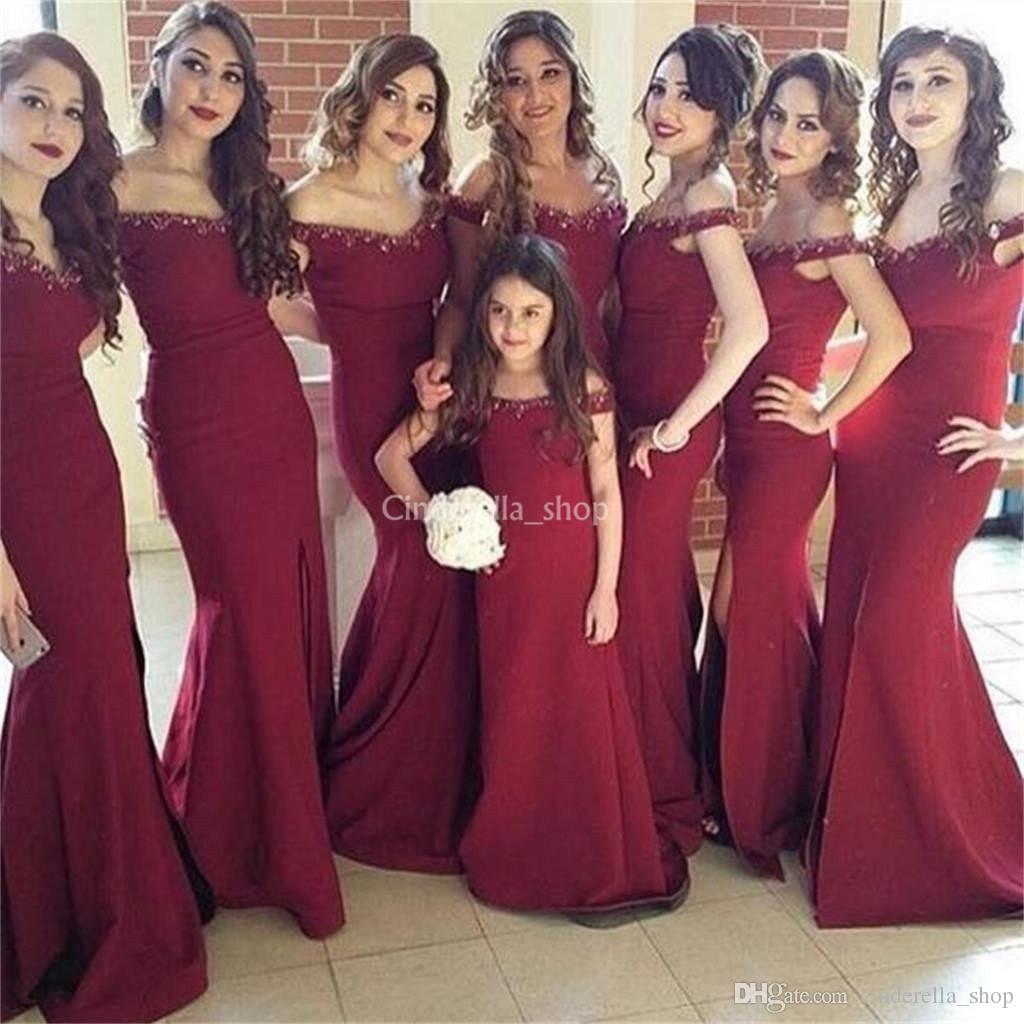 Compre Vestidos De Damas De Honor De Sirena De Color Rojo Oscuro 2019 Apliques De Hombros Granos Vestido Largo De Dama De Honor Vestidos De Fiesta