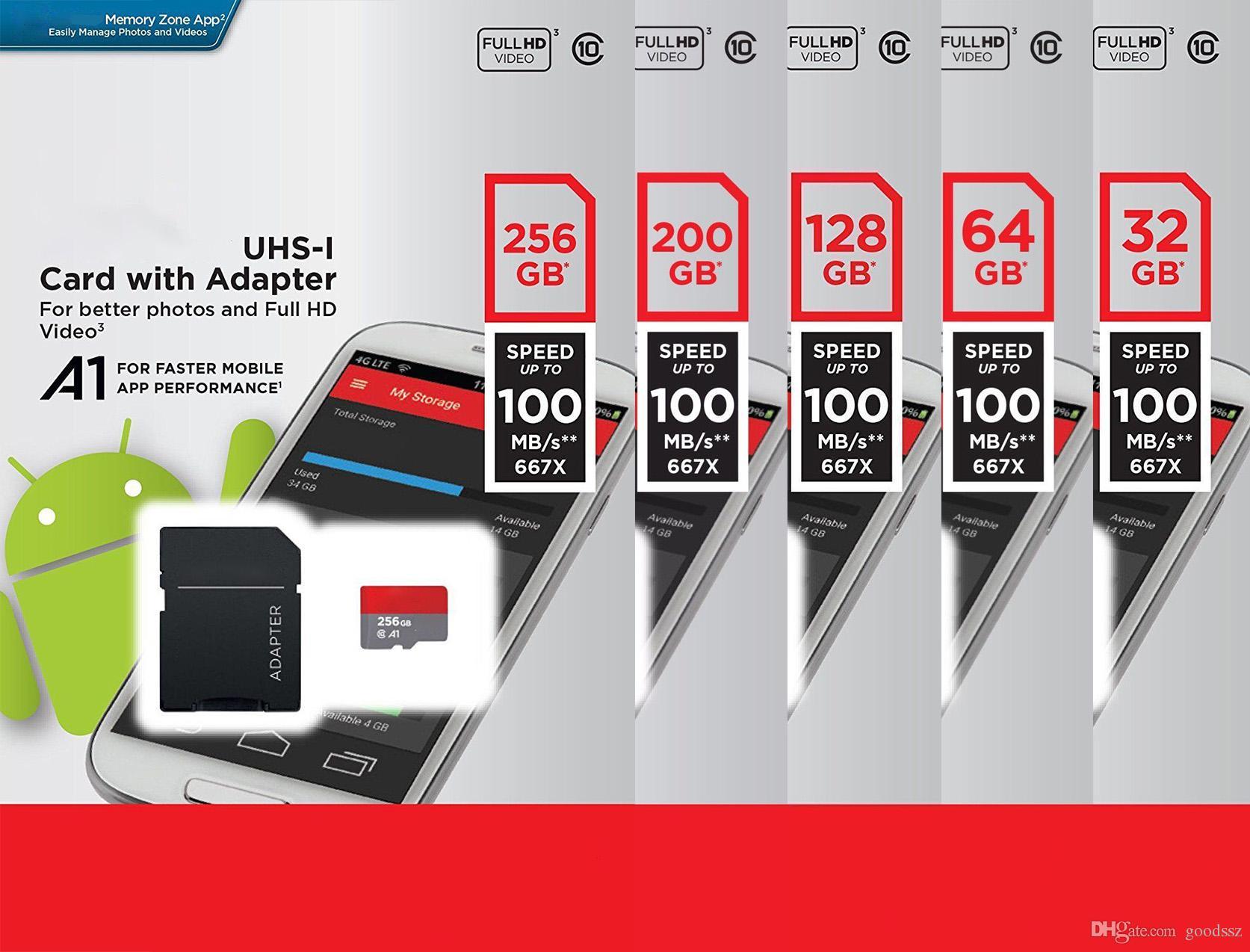 새로운 울트라 A1 32GB 64GB 128GB 200GB 256GB 마이크로 메모리 SD 카드 98MB / s UHS-I C10 TF 카드 어댑터