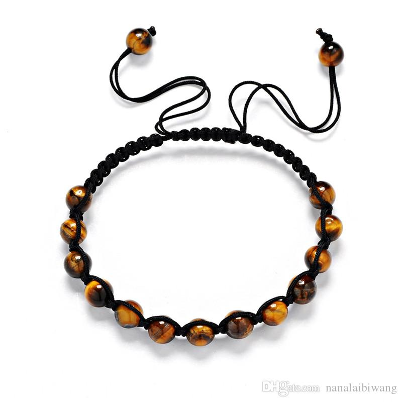 6mm Naturstein Armband Yoga Energie geflochtene Armband Tigerauge Stein rot Kiefer Achat Grün freies Verschiffen Goldarmband grün Dongling