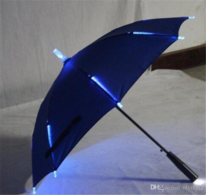 2018 7 Colors Changing Color LED Luminous Transparent Umbrella Rain Kids Women with Flashlight For Friends Best Gift