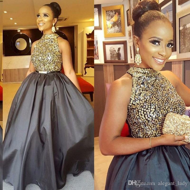 Luxury Fashion Junior Girl Celebrity Prom Kleider Goldene Perlen Pailletten Sleeveless Mini High Hals Glamouröse Abendkleider Satin Party Kleid