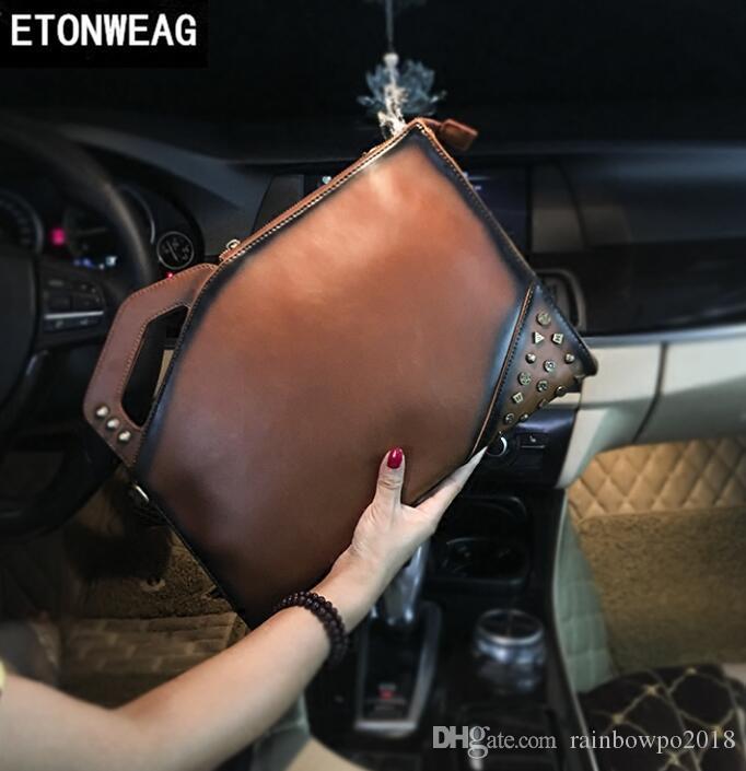 Factory Direct Brand Men Bag Retro Mad Horse PU Leather Handbag Individual Ancient Rivet Punk Mens Wrist Bag Trend Rivet Slant Shoulde