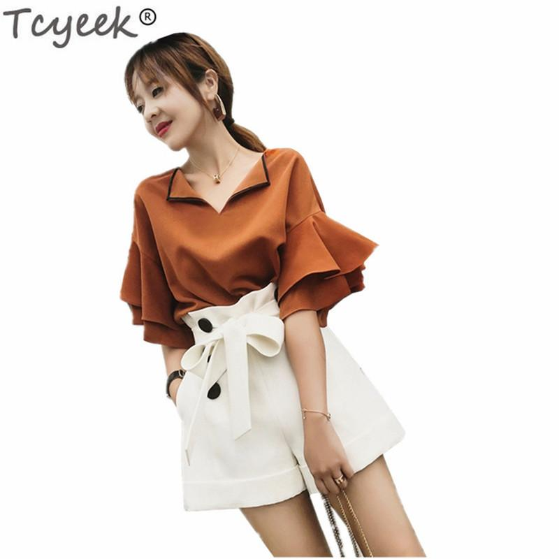 Tcyeek Women's EleSuit Summer 2 Pieces Set Shirts and Shorts Fashion Female Costumes Sweet Office Lady Work Clothes LWL329
