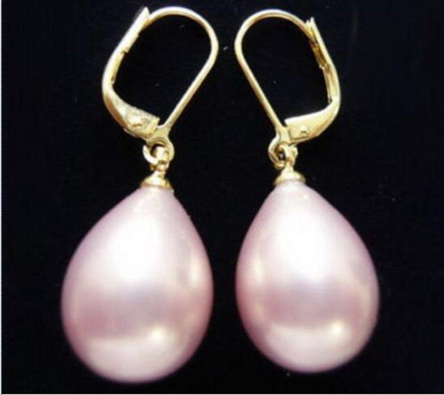 12x16mm Orecchini in oro rosa 18KGP con guscio di perla del mare del Sud