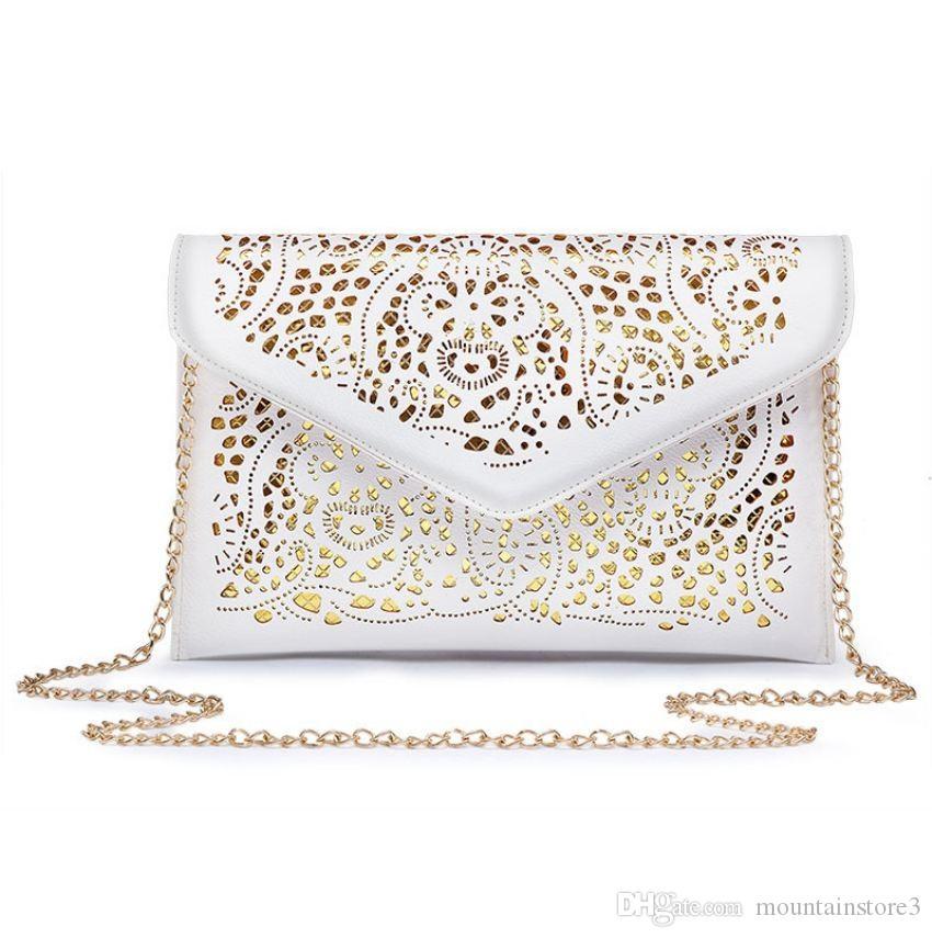 2018 Vintage Hollow Out Envelope Bag Small Women Leather Crossbody bag For girl Shoulder bag Messenger bags Clutch Handbag Purses