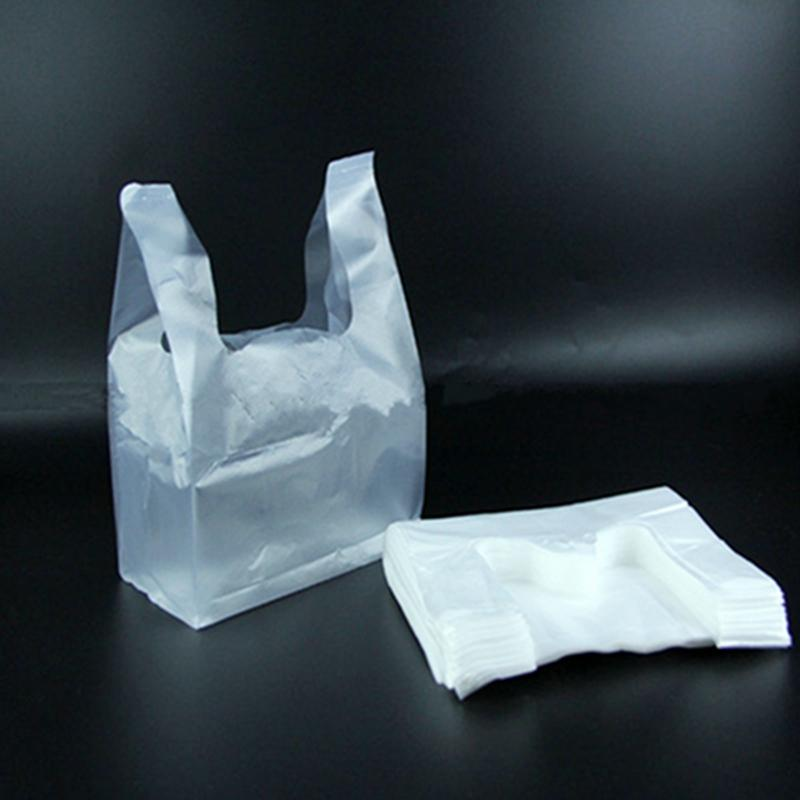 Wholesale- 100pc Multifunction White Vest Style Plastic Carrier Bags Grocery Packaging Bags 28.5X18cm