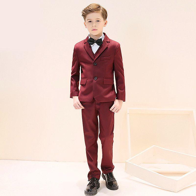 Yeni sıcak erkek moda yakışıklı takım elbise üç parçalı takım (ceket + pantolon + yelek) çocuk mezuniyet töreni resmi elbise destek özel