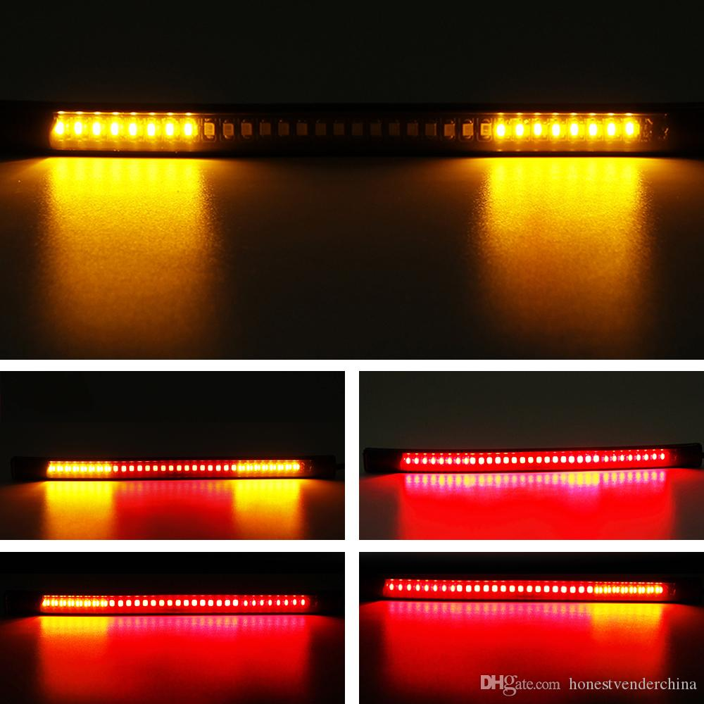 2x Motorcycle Light 48 SMD Red And Yellow tail brake stop Turn Signal Light Decorative Flexible LED Strip Light Kit