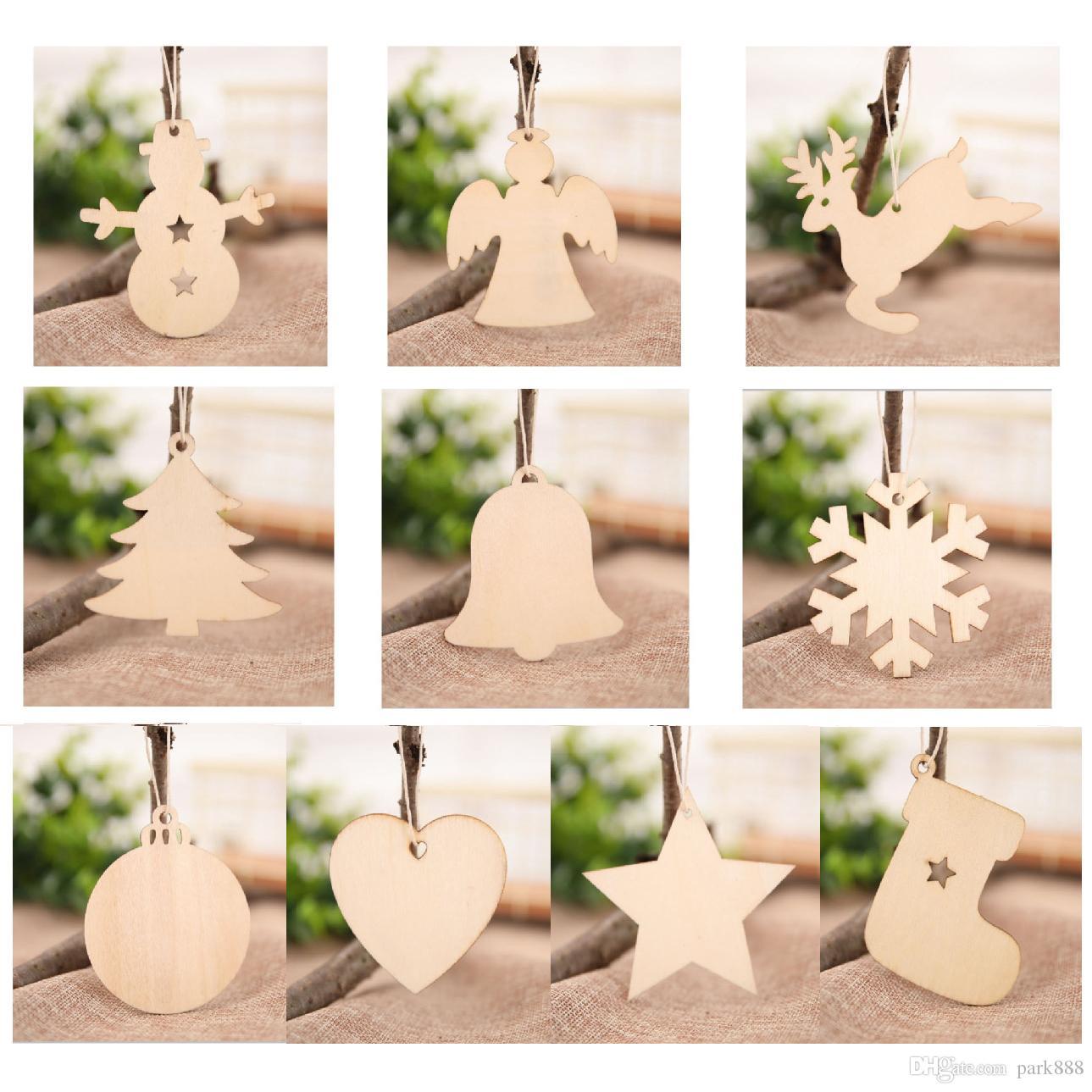 Tags de madeira Bolas De Natal Do Floco De Neve Xmas Árvore Meias Forma Boneco de Neve Decorações de Natal Artesanato de Arte Ornamentos DHL navio livre