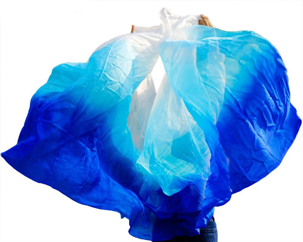 1piece New Arrivel 100% real silk veil belly dance veil belly dance accessories 250 * 114 cm Sapphire royal blue+turquoise+white