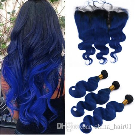Black and Dark Blue Ombre Malaysian Body Wave Human Hair Weave Bundles with 13x4 Full Lace Frontal #1B/Blue Ombre Virgin Hair Extensions